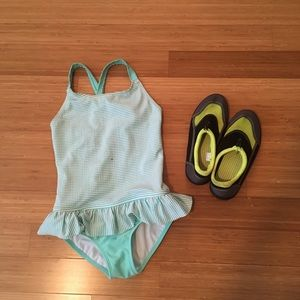 Size M (7/8) Bathing Suit  & Size 2/3 water shoes